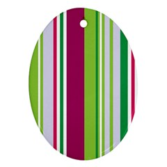 Beautiful Multi Colored Bright Stripes Pattern Wallpaper Background Oval Ornament (two Sides) by Amaryn4rt
