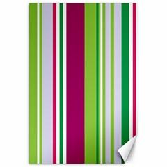 Beautiful Multi Colored Bright Stripes Pattern Wallpaper Background Canvas 20  X 30   by Amaryn4rt