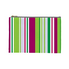 Beautiful Multi Colored Bright Stripes Pattern Wallpaper Background Cosmetic Bag (large)  by Amaryn4rt