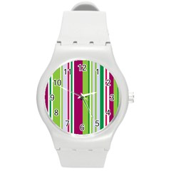Beautiful Multi Colored Bright Stripes Pattern Wallpaper Background Round Plastic Sport Watch (m) by Amaryn4rt