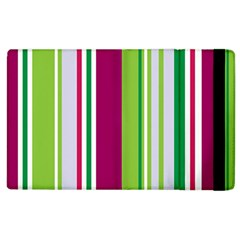 Beautiful Multi Colored Bright Stripes Pattern Wallpaper Background Apple Ipad 2 Flip Case by Amaryn4rt