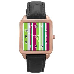 Beautiful Multi Colored Bright Stripes Pattern Wallpaper Background Rose Gold Leather Watch  by Amaryn4rt
