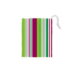 Beautiful Multi Colored Bright Stripes Pattern Wallpaper Background Drawstring Pouches (xs)  by Amaryn4rt