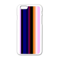 Fun Striped Background Design Pattern Apple Iphone 6/6s White Enamel Case by Amaryn4rt