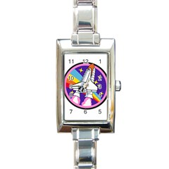 Badge Patch Pink Rainbow Rocket Rectangle Italian Charm Watch by Amaryn4rt