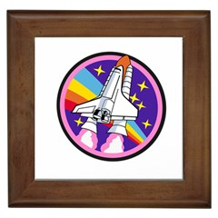 Badge Patch Pink Rainbow Rocket Framed Tiles by Amaryn4rt
