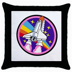 Badge Patch Pink Rainbow Rocket Throw Pillow Case (black) by Amaryn4rt