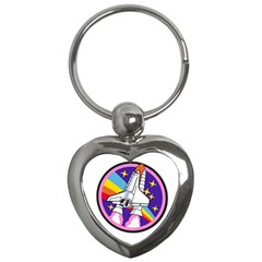 Badge Patch Pink Rainbow Rocket Key Chains (heart)