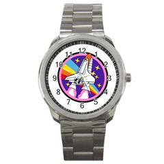 Badge Patch Pink Rainbow Rocket Sport Metal Watch by Amaryn4rt