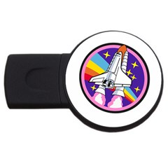 Badge Patch Pink Rainbow Rocket Usb Flash Drive Round (4 Gb)