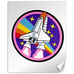 Badge Patch Pink Rainbow Rocket Canvas 16  X 20   by Amaryn4rt