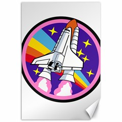 Badge Patch Pink Rainbow Rocket Canvas 24  X 36
