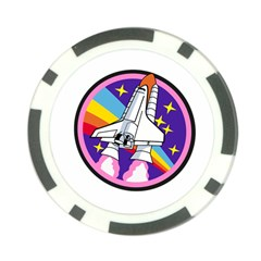 Badge Patch Pink Rainbow Rocket Poker Chip Card Guard by Amaryn4rt