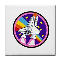 Badge Patch Pink Rainbow Rocket Face Towel by Amaryn4rt