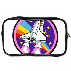 Badge Patch Pink Rainbow Rocket Toiletries Bags by Amaryn4rt