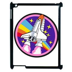 Badge Patch Pink Rainbow Rocket Apple Ipad 2 Case (black) by Amaryn4rt