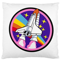 Badge Patch Pink Rainbow Rocket Large Cushion Case (two Sides) by Amaryn4rt