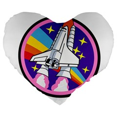 Badge Patch Pink Rainbow Rocket Large 19  Premium Heart Shape Cushions by Amaryn4rt