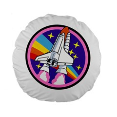 Badge Patch Pink Rainbow Rocket Standard 15  Premium Flano Round Cushions by Amaryn4rt