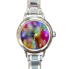A Mix Of Colors In An Abstract Blend For A Background Round Italian Charm Watch by Amaryn4rt