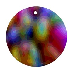 A Mix Of Colors In An Abstract Blend For A Background Round Ornament (two Sides) by Amaryn4rt