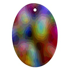 A Mix Of Colors In An Abstract Blend For A Background Oval Ornament (two Sides) by Amaryn4rt