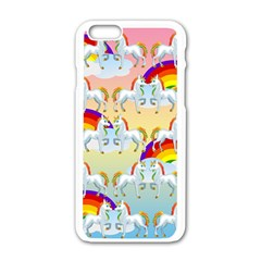 Rainbow Pony  Apple Iphone 6/6s White Enamel Case by Valentinaart