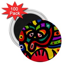 A Seamless Crazy Face Doodle Pattern 2 25  Magnets (100 Pack)  by Amaryn4rt