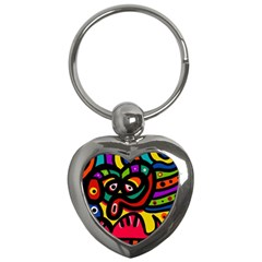 A Seamless Crazy Face Doodle Pattern Key Chains (heart)  by Amaryn4rt