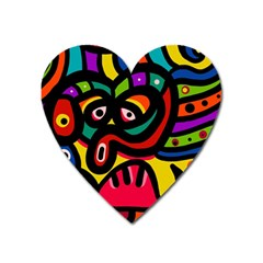 A Seamless Crazy Face Doodle Pattern Heart Magnet by Amaryn4rt