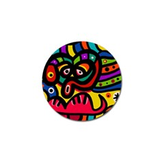 A Seamless Crazy Face Doodle Pattern Golf Ball Marker by Amaryn4rt