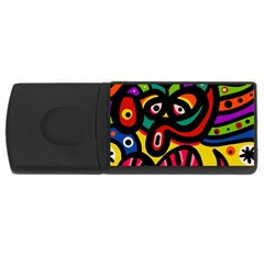 A Seamless Crazy Face Doodle Pattern Usb Flash Drive Rectangular (4 Gb) by Amaryn4rt