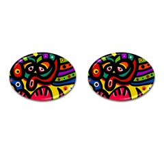 A Seamless Crazy Face Doodle Pattern Cufflinks (oval) by Amaryn4rt