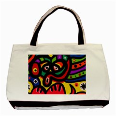 A Seamless Crazy Face Doodle Pattern Basic Tote Bag by Amaryn4rt