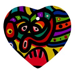 A Seamless Crazy Face Doodle Pattern Heart Ornament (two Sides) by Amaryn4rt