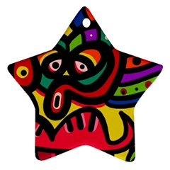 A Seamless Crazy Face Doodle Pattern Star Ornament (two Sides) by Amaryn4rt