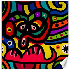 A Seamless Crazy Face Doodle Pattern Canvas 12  X 12   by Amaryn4rt