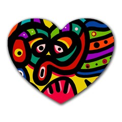 A Seamless Crazy Face Doodle Pattern Heart Mousepads by Amaryn4rt