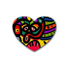 A Seamless Crazy Face Doodle Pattern Rubber Coaster (heart)  by Amaryn4rt
