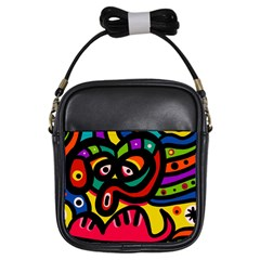 A Seamless Crazy Face Doodle Pattern Girls Sling Bags by Amaryn4rt