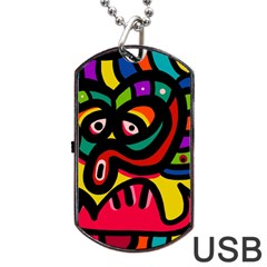 A Seamless Crazy Face Doodle Pattern Dog Tag Usb Flash (two Sides) by Amaryn4rt