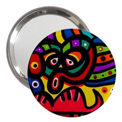 A Seamless Crazy Face Doodle Pattern 3  Handbag Mirrors by Amaryn4rt