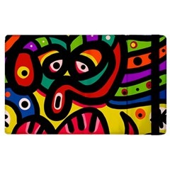 A Seamless Crazy Face Doodle Pattern Apple Ipad 2 Flip Case by Amaryn4rt