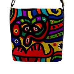 A Seamless Crazy Face Doodle Pattern Flap Messenger Bag (l)  by Amaryn4rt