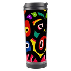 A Seamless Crazy Face Doodle Pattern Travel Tumbler by Amaryn4rt