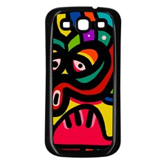 A Seamless Crazy Face Doodle Pattern Samsung Galaxy S3 Back Case (black) by Amaryn4rt