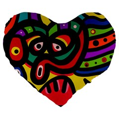 A Seamless Crazy Face Doodle Pattern Large 19  Premium Flano Heart Shape Cushions by Amaryn4rt