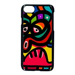 A Seamless Crazy Face Doodle Pattern Apple Iphone 7 Seamless Case (black) by Amaryn4rt