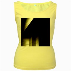 Wall White Black Abstract Women s Yellow Tank Top