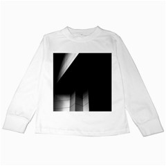 Wall White Black Abstract Kids Long Sleeve T Shirts by Amaryn4rt